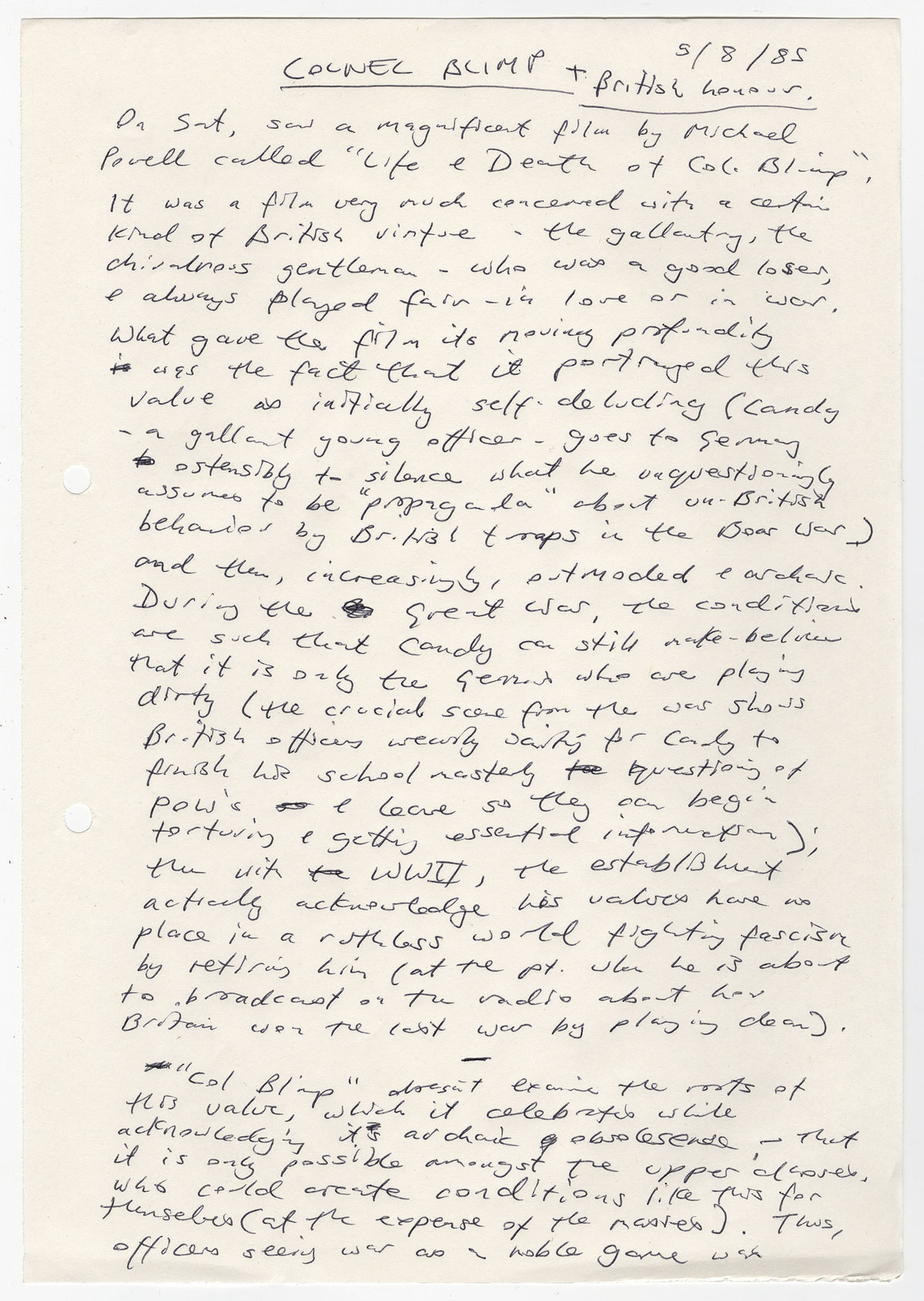 """Kazuo Ishiguro's notes on the film """"The Life and Death of Colonel Blimp"""" (1943), August 5, 1985."""