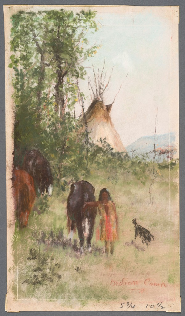 Frank Reaugh Indian Camp, circa 1883, pastel on paper, 11 13/16 x 6 11/16 inches