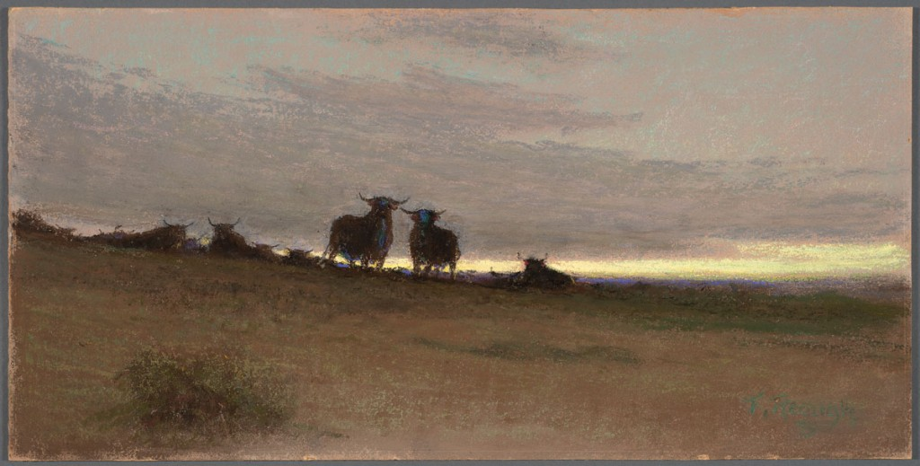Frank Reaugh The Coming Herd–Morning, undated, pastel on cardboard, 12 3/16 x 24 inches.