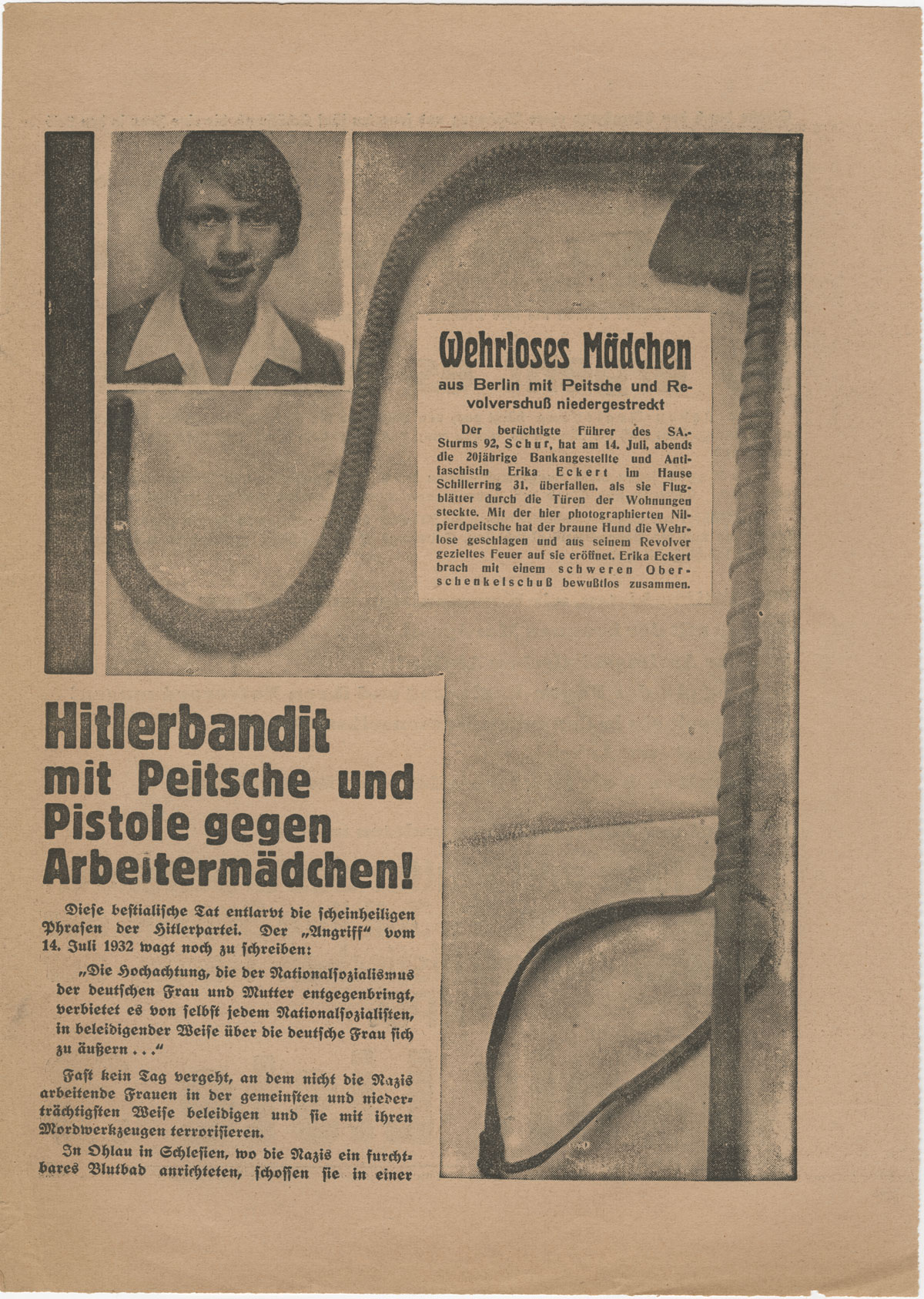 From the 1932 German elections ephemera collection. Communist leaflet describing the non-lethal shooting by a Nazi SA leader of a young woman distributing antifascist leaflets at Schillering 31 in Berlin.