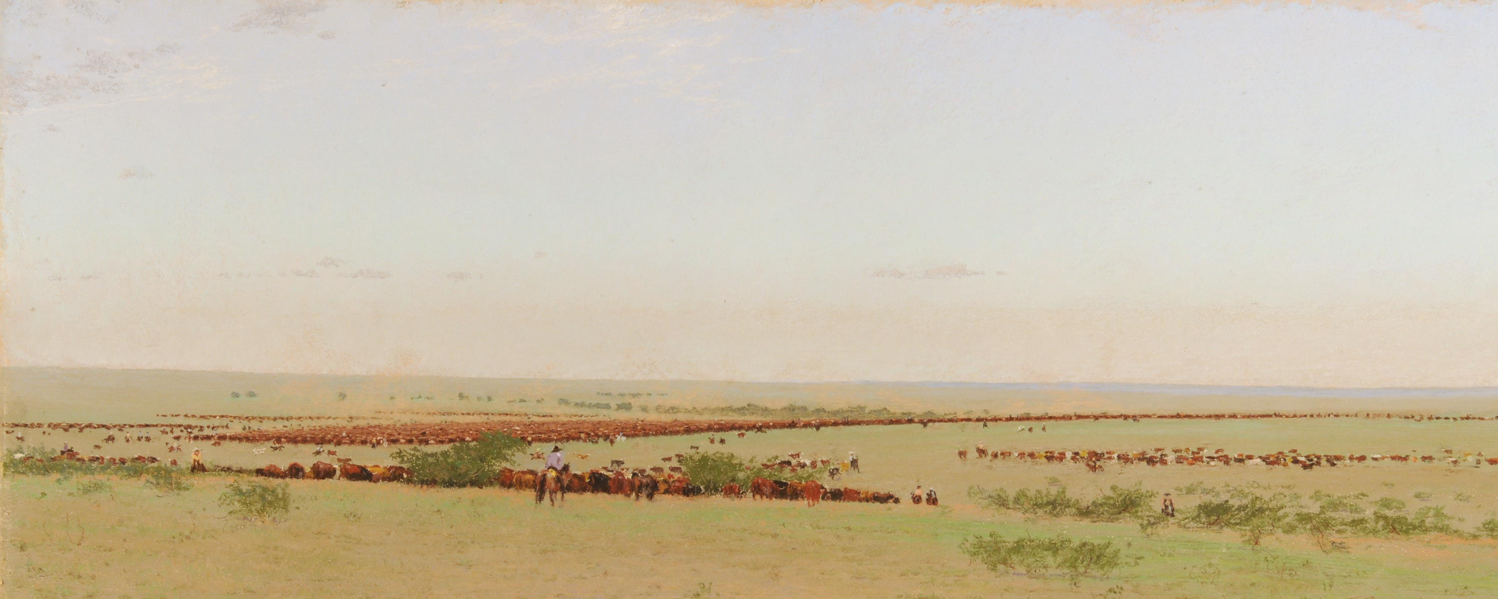 The O Roundup, Texas, 1888. 1894, Frank Reaugh (American, 1860-1945). Pastel on paper mounted on canvas. 18 5/8 x 43 7/8 inches. Panhandle-Planes Historical Museum, Canyon, Texas.
