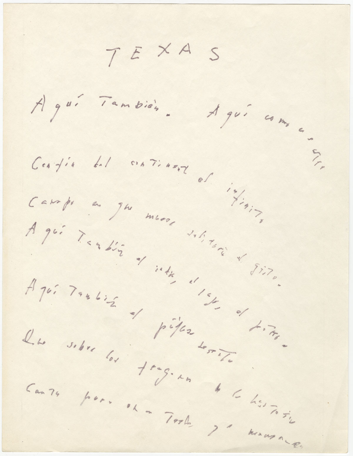 "Jorge Luis Borges,""Texas"" (page 1). From the manuscripts collection at the Harry Ransom Center. / Jorge Luis Borges, ""Texas"" (página 1). De la colección de manuscritos en el Harry Ransom Center."