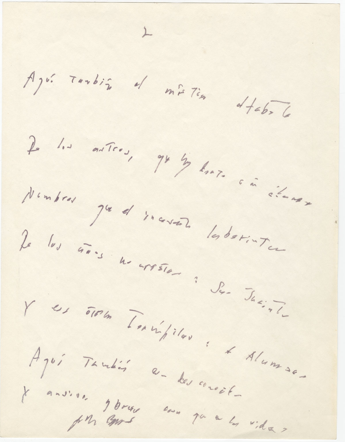 "Jorge Luis Borges,""Texas"" (page 2). From the manuscripts collection at the Harry Ransom Center. / Jorge Luis Borges, ""Texas"" (página 2). De la colección de manuscritos en el Harry Ransom Center."