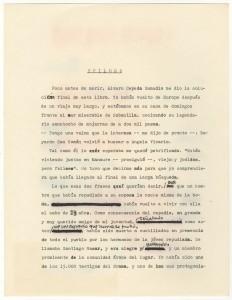 """Gabriel García Márquez's corrected draft typescript of the epilogue to """"Crónica de una muerte anunciada"""" [""""Chronicle of a Death Foretold""""], 1980. / Borrador mecanografiado y con correcciones de Gabriel García Márquez del epílogo de """"Crónica de una muerte anunciada,"""" 1980."""