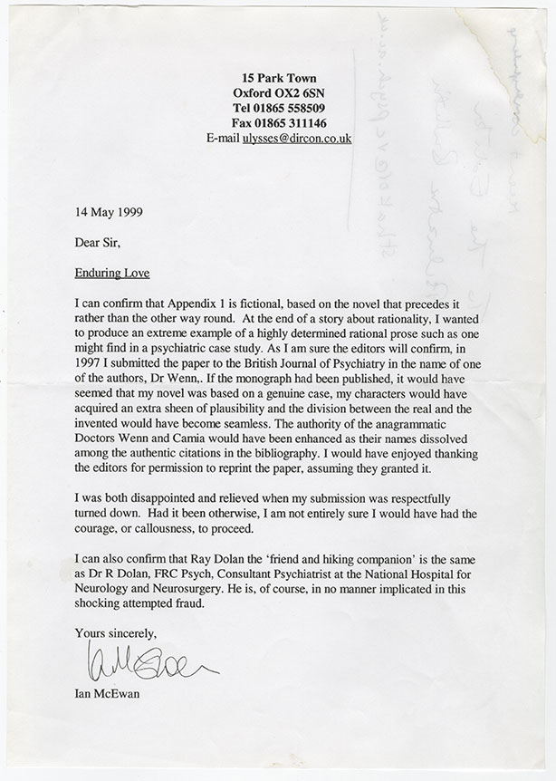 Ian McEwan Enduring Love letter.