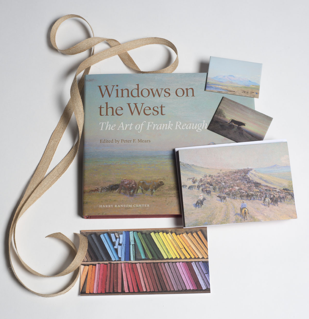"""Set of seven notecards; three postcards; """"Windows on the West: the Art of Frank Reaugh""""; and five Reaugh magnets. $50"""