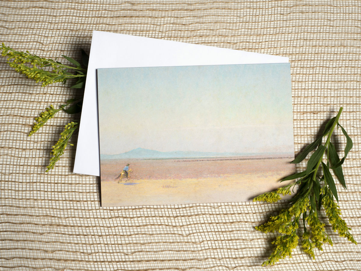 """Seven 5""""x7"""" notecards with envelopes in clear acrylic box, $10"""