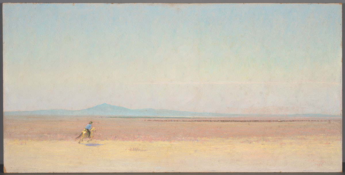 Frank Reaugh The Herd Moves On, Number 7 from Twenty-four Hours with the Herd, 1932, pastel on Masonite, 24 x 48 1/16 inches