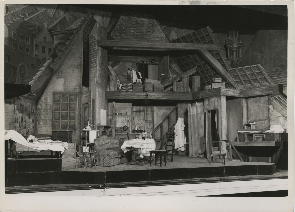 The set for the original Broadway production of The Diary of Anne Frank by Boris Aronson, Fred Fehl Theater Photograph Collection.