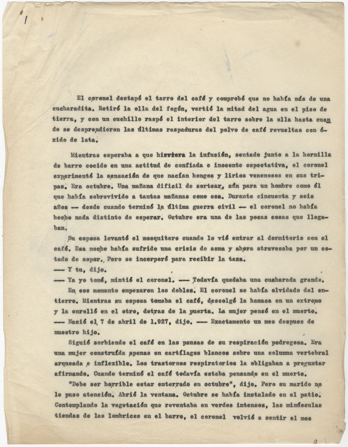 The first page of the carbon typescript of El coronel no tiene quien le escriba [No One Writes to the Colonel], 1957.