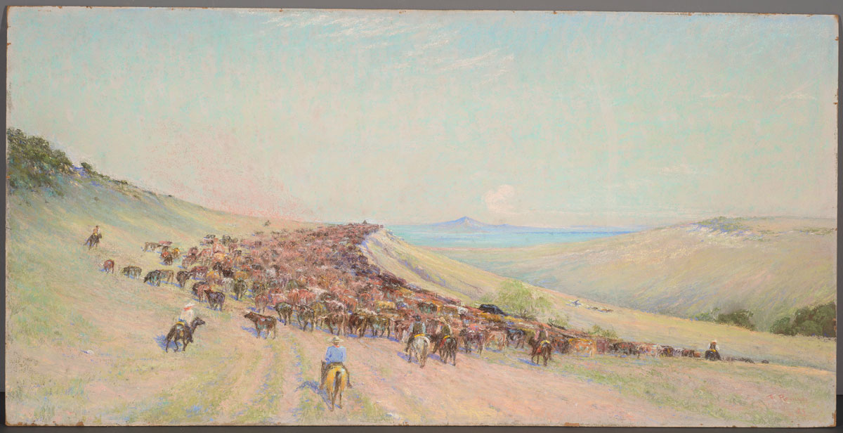Frank Reaugh Driving the Herd, Number 1 from Twenty-four Hours with the Herd, 1933, pastel on board, 24 x 48 1/16 inches