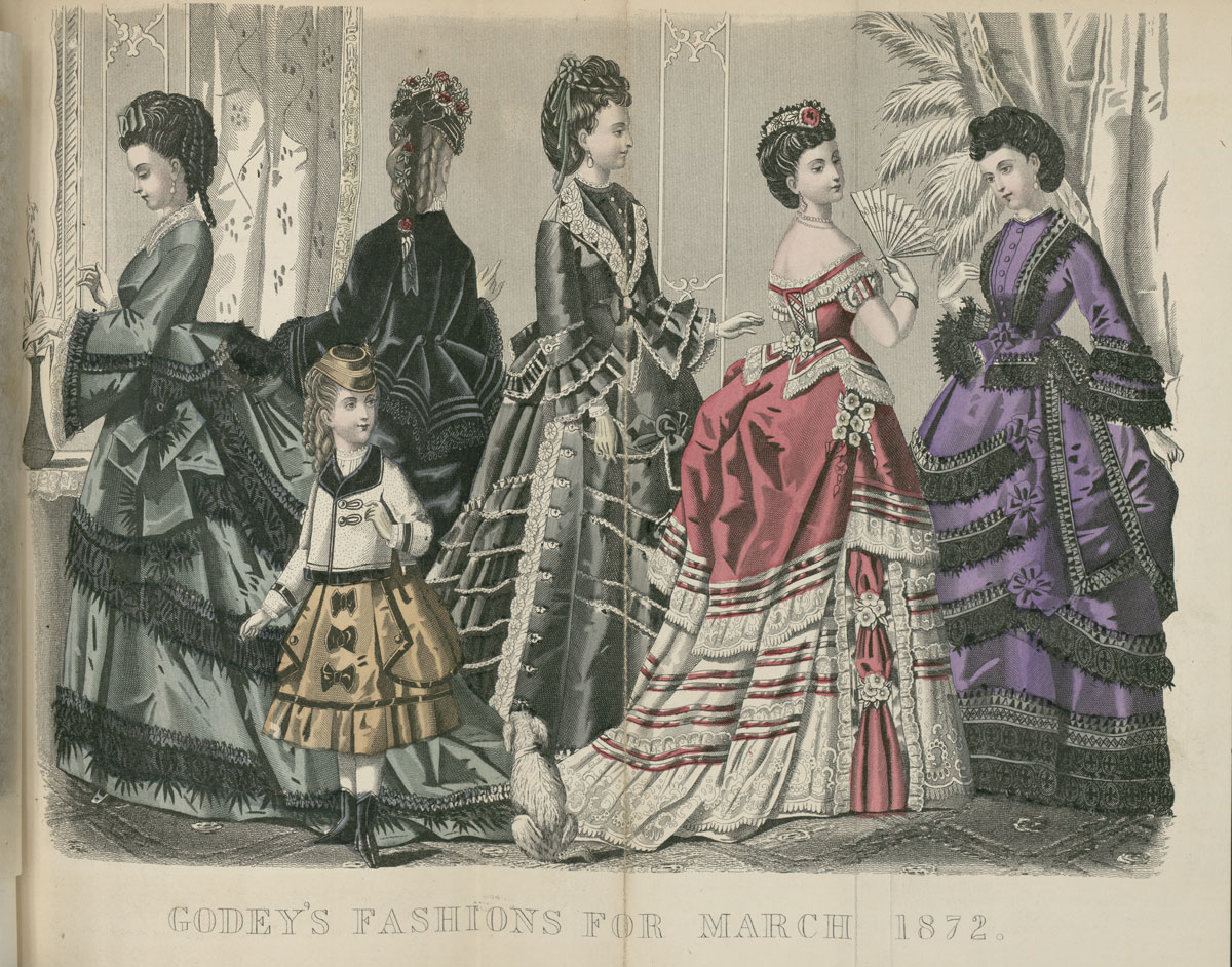 Fashion illustration from Godey's Lady's Book, March 1872.