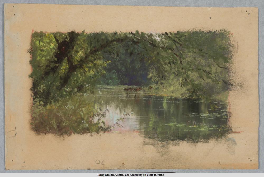 "Frank Reaugh (1860-1945), ""The Lake--McKavett."" pastel, 15 x 24 cm. Undated."