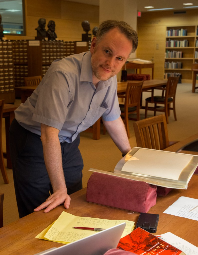 Niall Munro with his research in the Ransom Center's Reading and Viewing Room. Photo by Pete Smith.