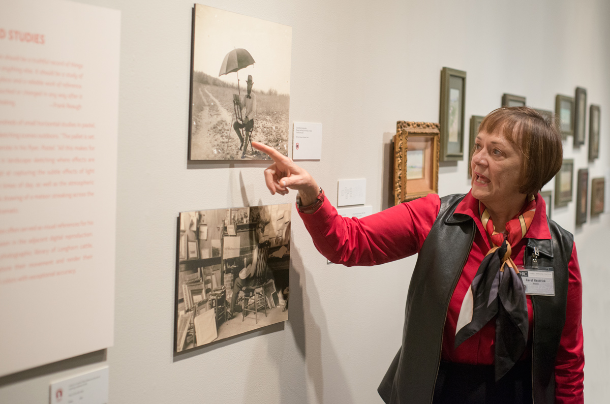 """Pat Clayton gives a tour of the exhibition """"Frank Reaugh: Landscapes of Texas and the American West."""" Photo by Pete Smith."""