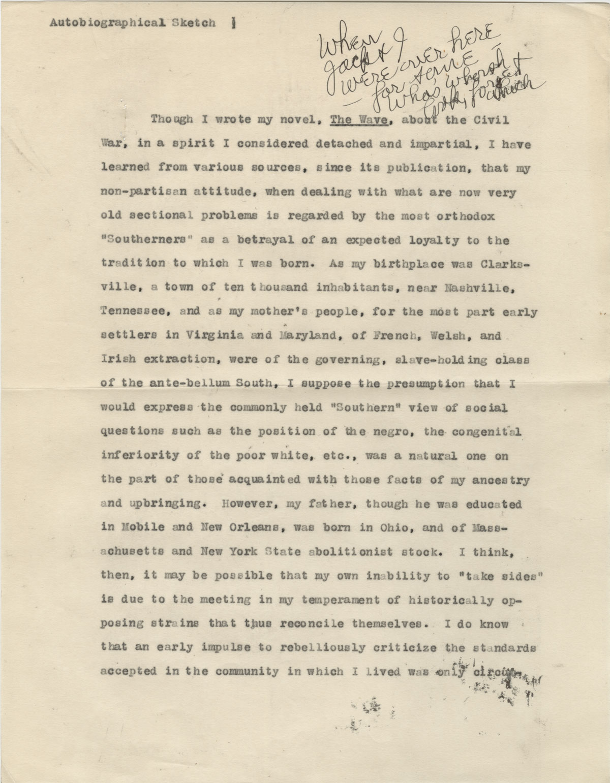 The first page of the manuscript of Scott's Autobiographical Sketch, ca. 1930s. Image used with the permission of the Scott family.