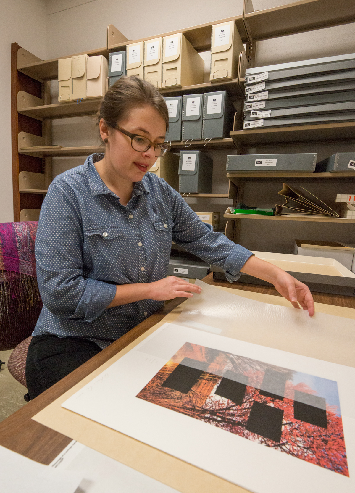 Archivist Anne Kofmehl preparing the Edward Ruscha archive. Photo by Pete Smith