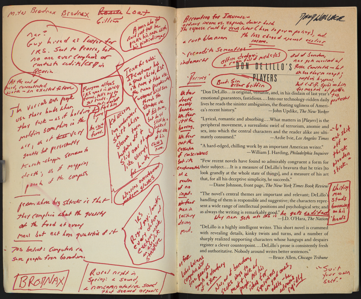 Inside cover of David Foster Wallace's annotated copy of Don DeLillo's Players.