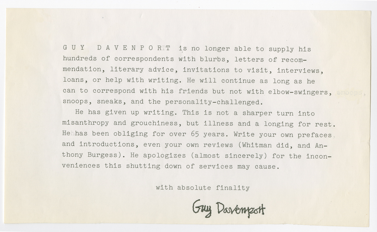 Form letter from Davenport to writers