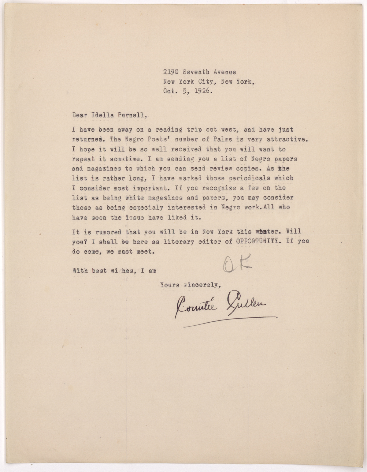 On October 5, 1926 Cullen wrote to Purnell, pleased with the appearance of the special issue of Palms and hoping that it might be repeated in the future.