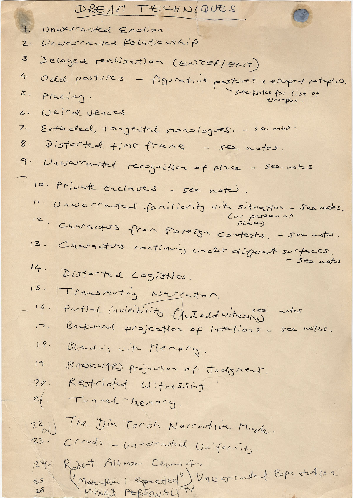 Kazuo Ishiguro's Dream Techniques page for The Unconsoled.