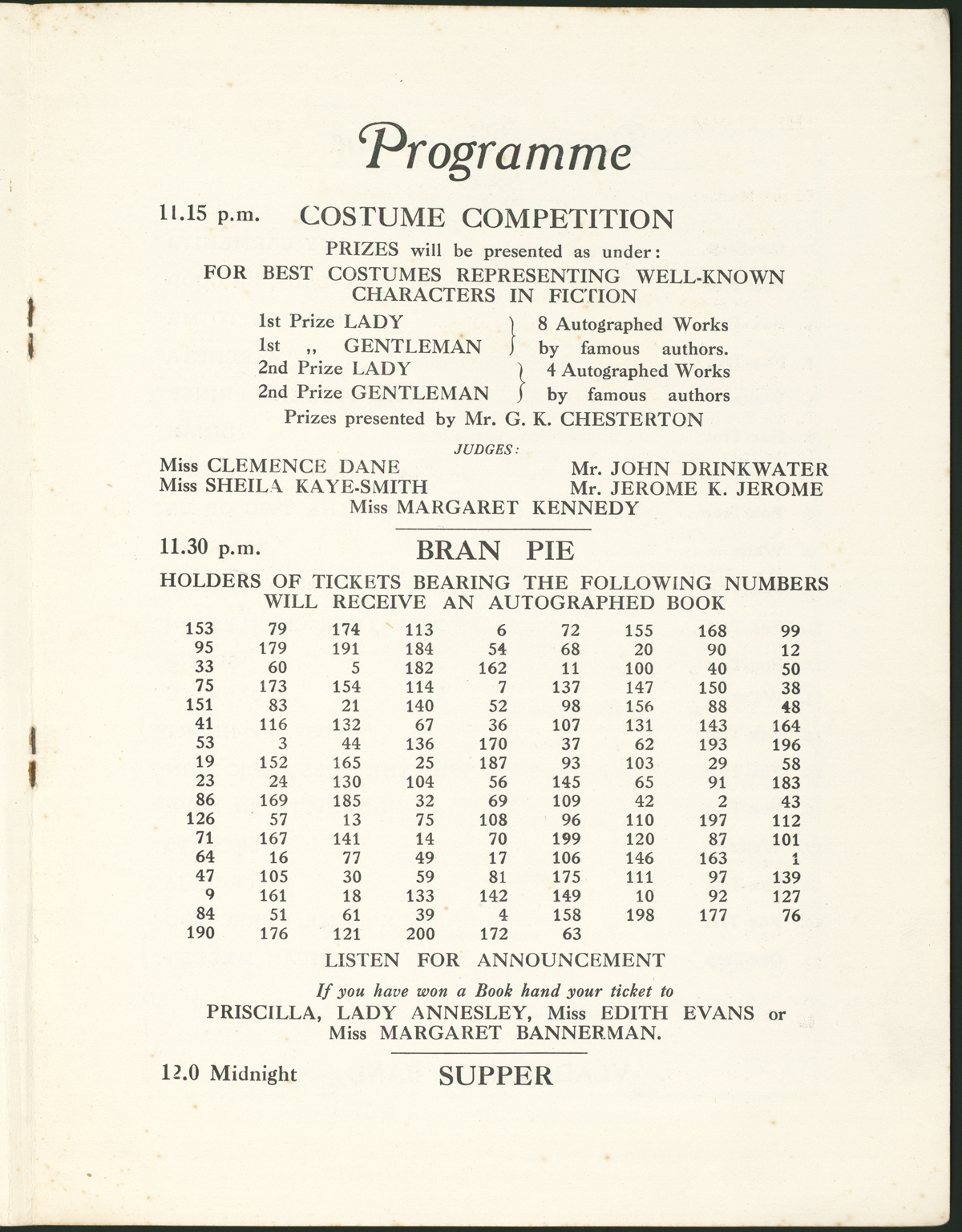 Event program for 1927 P.E.N. International Ball.