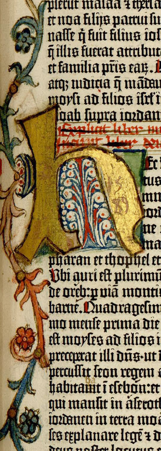 The beginning of the book of Deuteronomy, illuminated letter H, volume one.