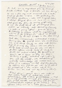 Kazuo Ishiguro's notes on the film The Life and Death of Colonel Blimp (1943), August 5, 1985