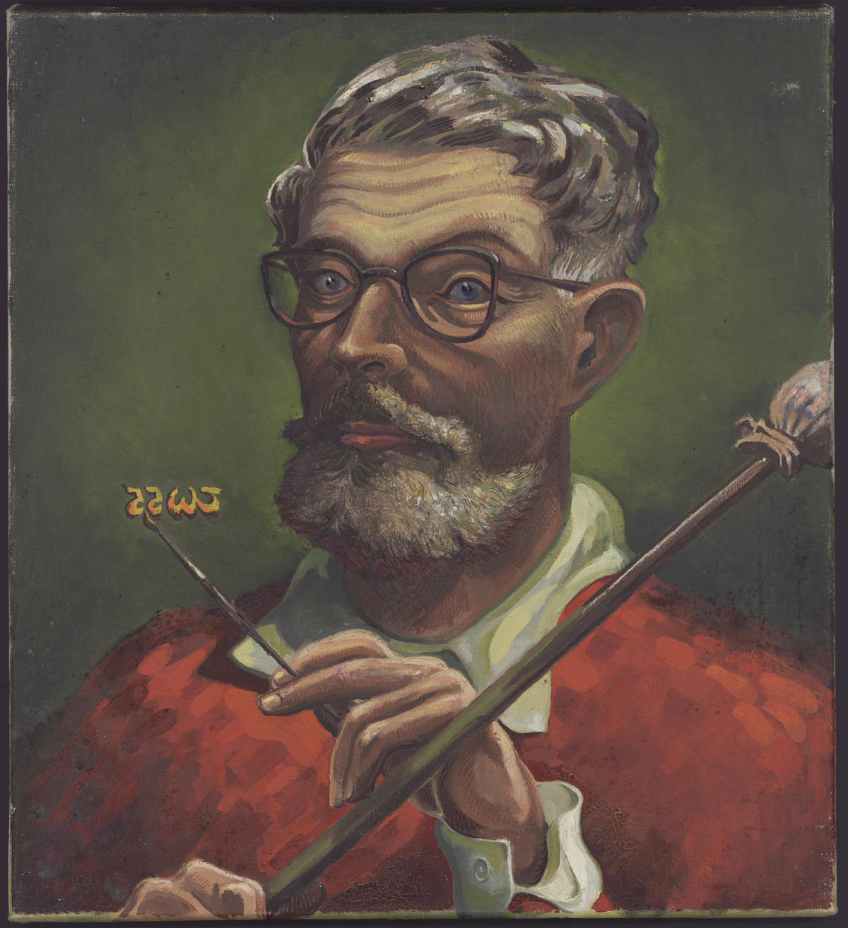 Self-portrait painted by T. H. White (1955). Several of White's other paintings are housed in the Ransom Center's art collections.