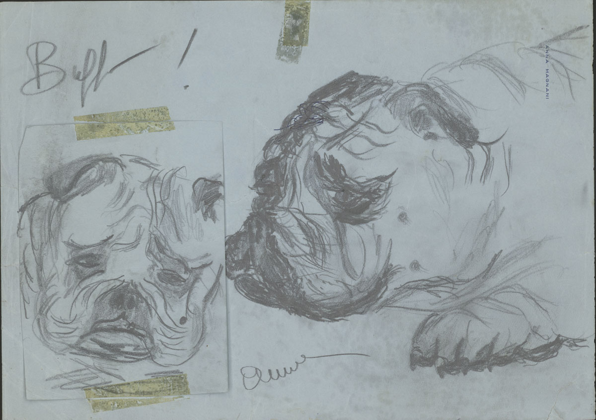 Ana Magnani (Italian, 1908-1973) Buffo!, ca. 1950s Pencil on paper 8 1/4 x 11 1/2 inches; 5 5/16 x 4 inches