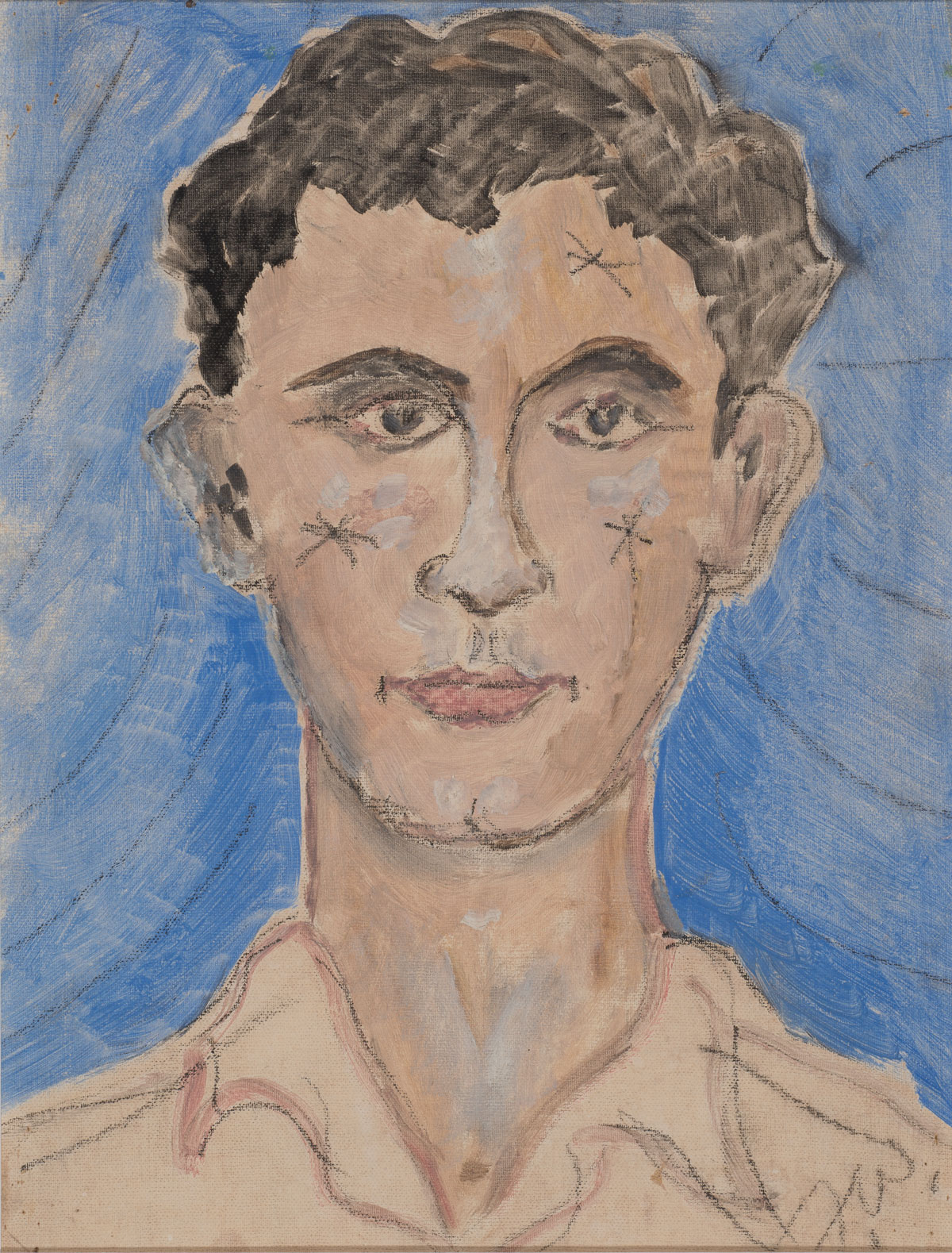 Tennesse Williams (American, 1911-1983) Untitled [portrait of Pancho Rodriguez], not dated Oil and charcoal on canvas board 23 x 19 3/4 inches Signed T.W.