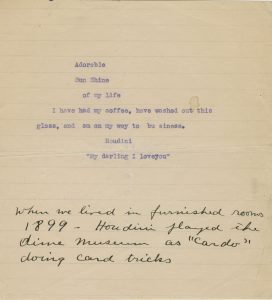 Note from Harry Houdini to Bess Houdini, undated. Harry Houdini Collection