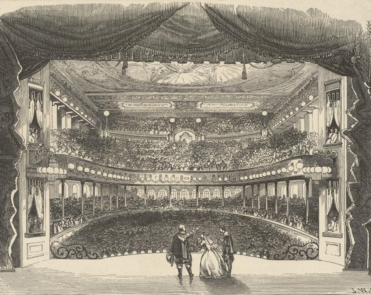 Interior of the opera house at Niblo's Garden, New York, 1853