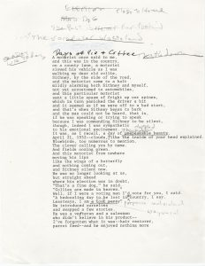"""Manuscript page of """"Days of Pie and Coffee"""""""