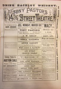 "Program for Tony Pastor's 14th Street Theatre, 6 March 1893, when the ""Refined Novelties"" included Annie Oakley. Tony Pastor Collection, Harry Ransom Center"