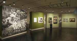 The finished product of The World at War, Rob's first exhibition as a preparator at the Ransom Center