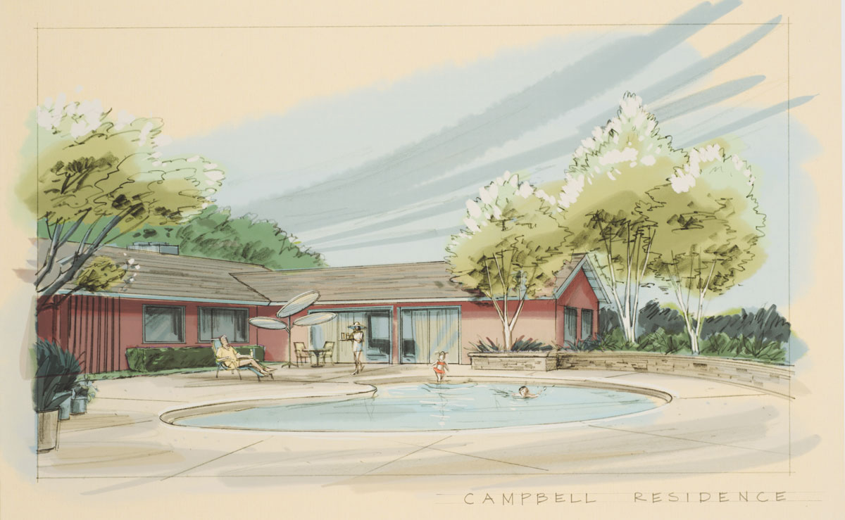 Set design sketch for the Campbell residence. Photo by Pete Smith.