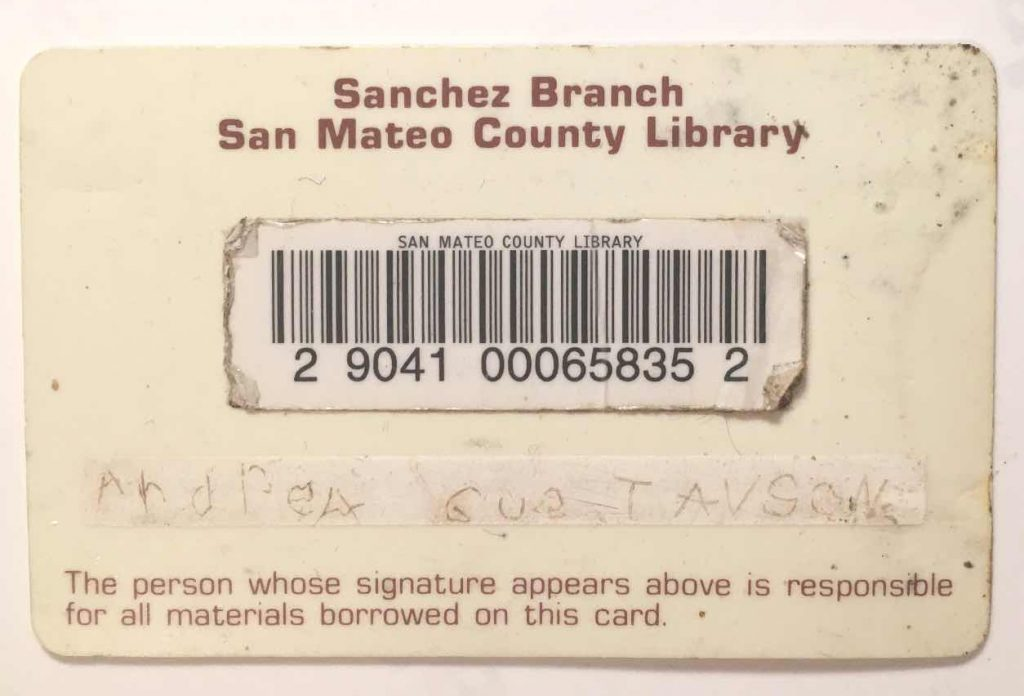 Andi's first library card