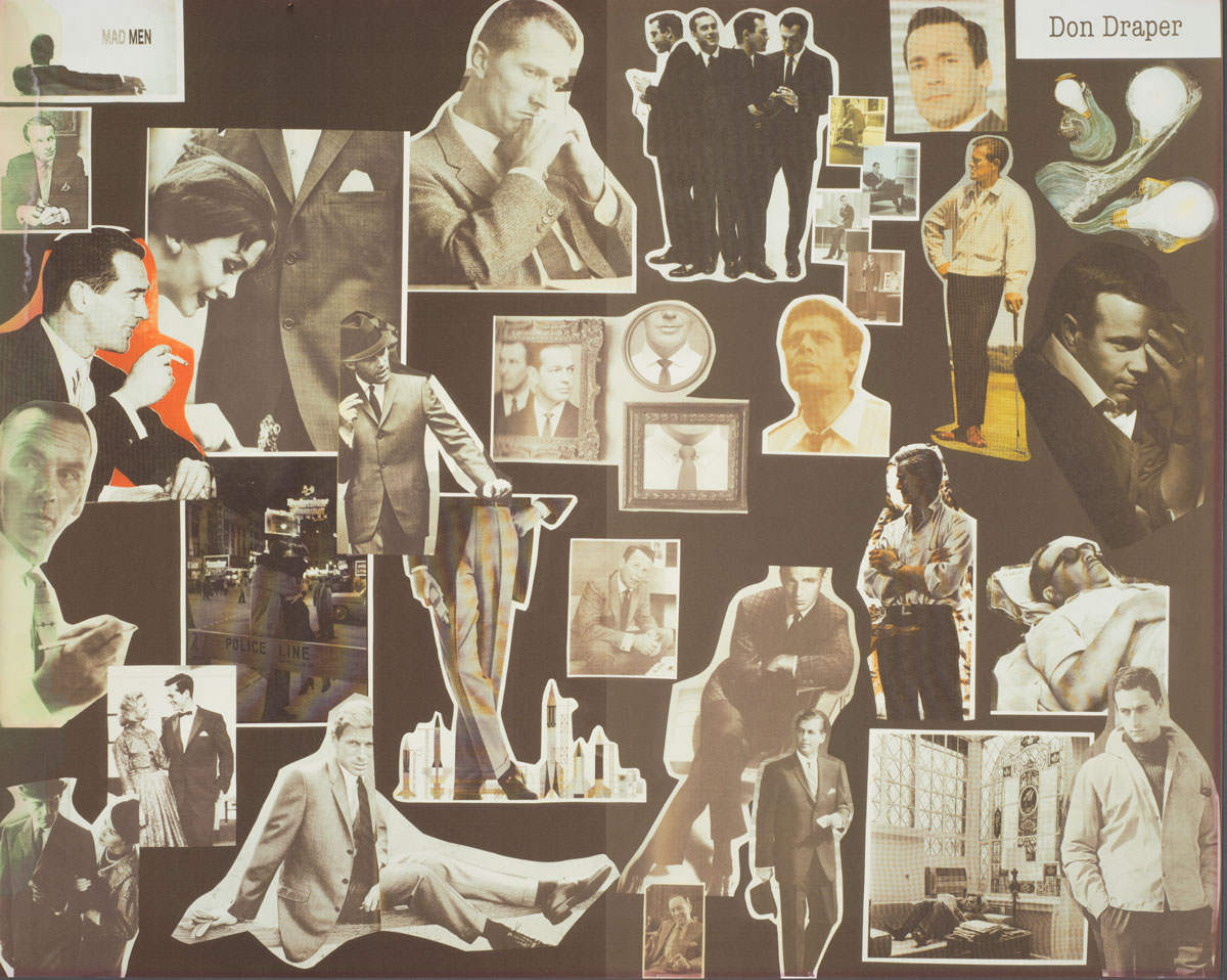 """Inspiration board"" for the character of Don Draper. Photo by Pete Smith."