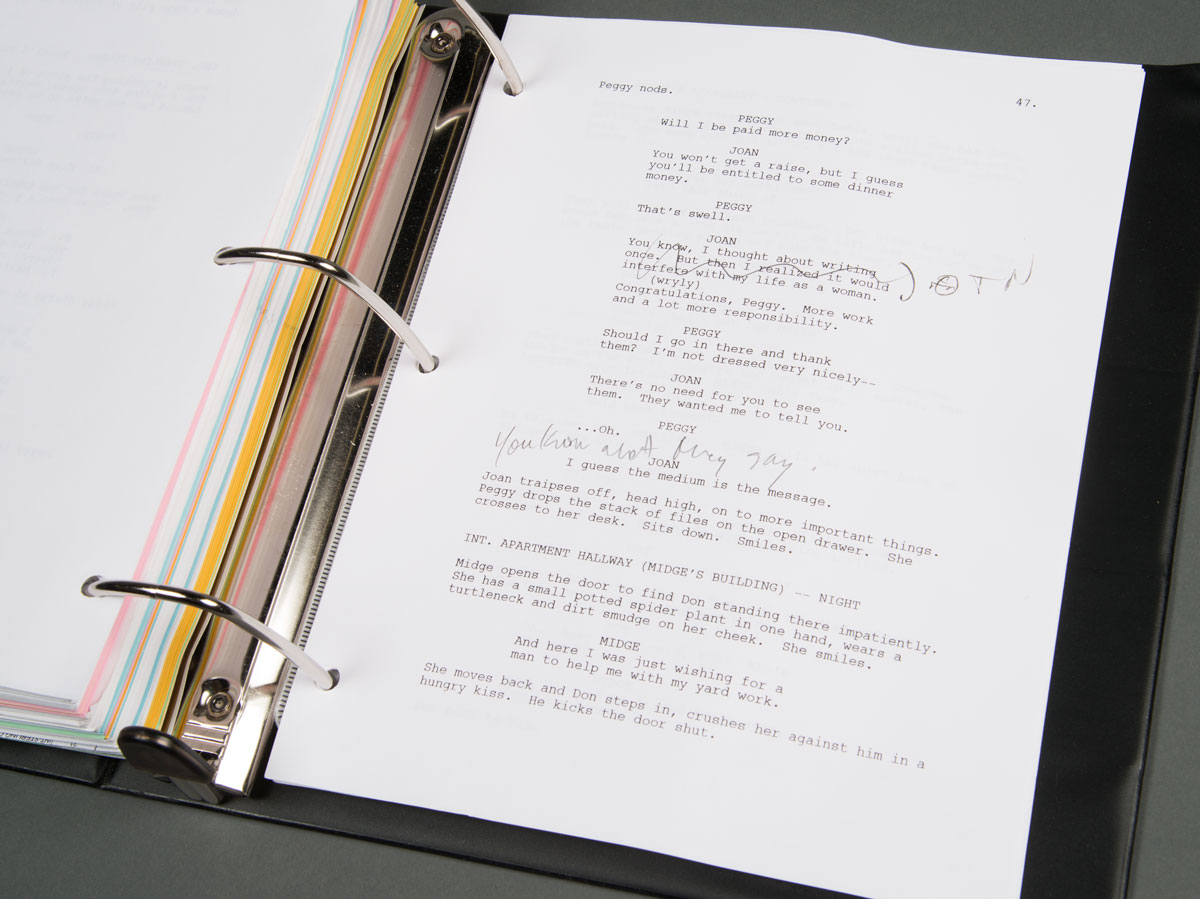 "Script from ""Mad Men."" Photo by Pete Smith."