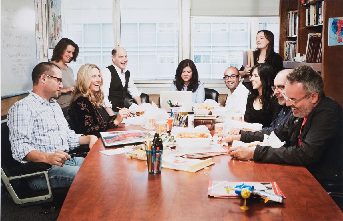 """""""Mad Men"""" writers. Matthew Weiner is fourth from left."""