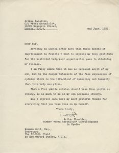 Arthur Koestler. Letter to PEN secretary Hermon Ould expressing gratitude for help in obtaining his release from prison in Spain, June 2, 1937.