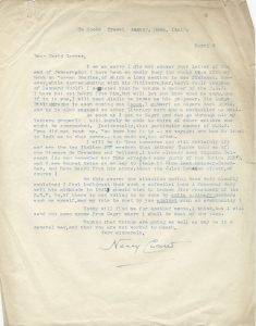 Nancy Cunard. Letter to David Carver concerning possible PEN membership of publisher Cecil Woolf, nephew of Virginia and Leonard Woolf, with thoughts on the internal politics of PEN, March 4, 1953.