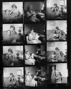 Contact sheet of images of Anne Jackson and Eli Wallach. Unidentified photographer.