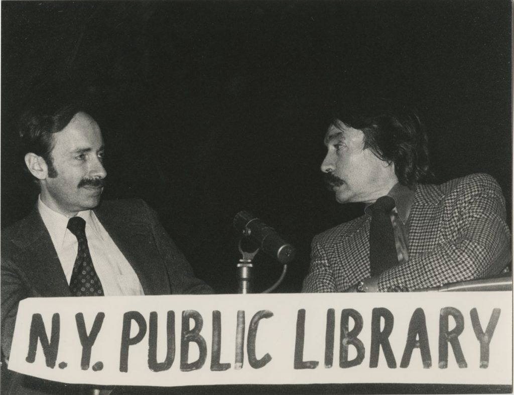 Mel Gussow and Edward Albee at New York Public Library for the Performing Arts, December 14, 1979.