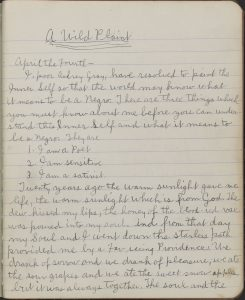 The first page of A Wild Plaint, 1909. Christopher Morley Collection.