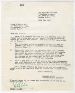 Peter O'Toole's contract for Laurence Olivier's Hamlet, the debut production of the National Theatre, 1963.