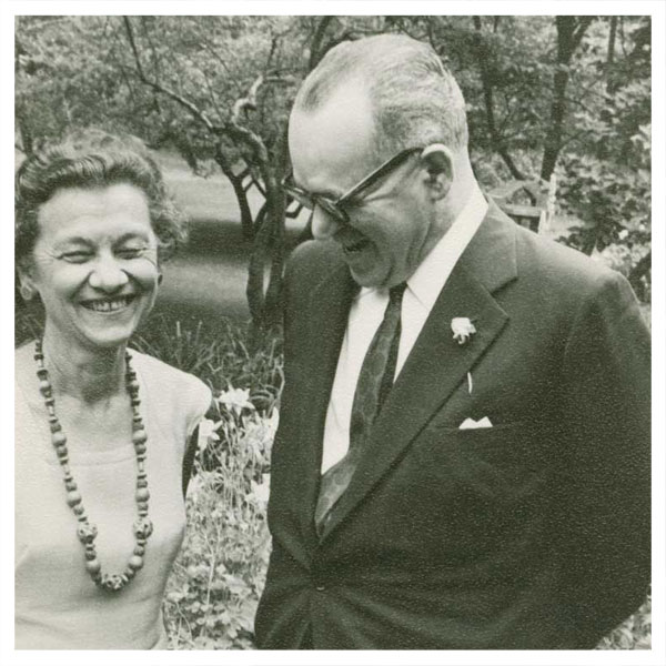 Alfred A. Knopf (American, 1892–1984), Harriet de Onis and [João] Guimarães Rosa, 1966. Gelatin silver print, 12.8 x 8.8 cm. Alfred A. Knopf literary files, 6.76