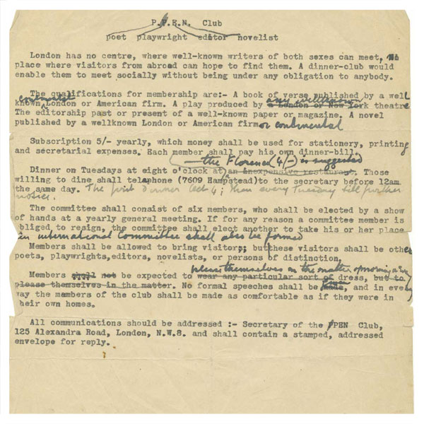 Viewing the twentieth century via the PEN archive