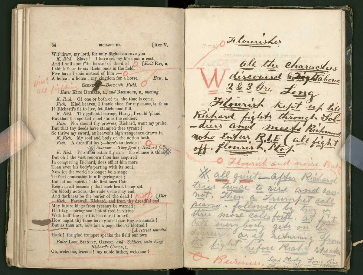 John Wilkes Booth's promptbook for Richard III, ca. 1861–1864. Manuscripts Collection, Harry Ransom Center.